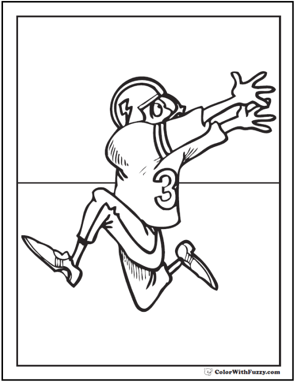Running Receiver Football Coloring Page