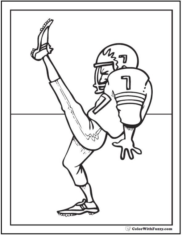 Over The Goal Kick Football Coloring Pages For Kids