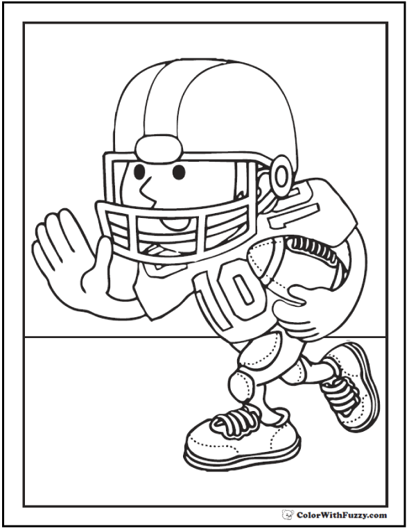 Running Back Football Player Coloring