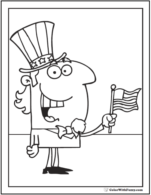Uncle Sam waving flag Fourth of July coloring page.