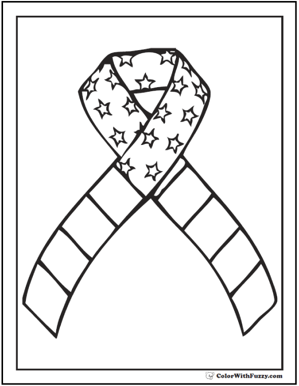 Remember me ribbon Fourth of July coloring page.
