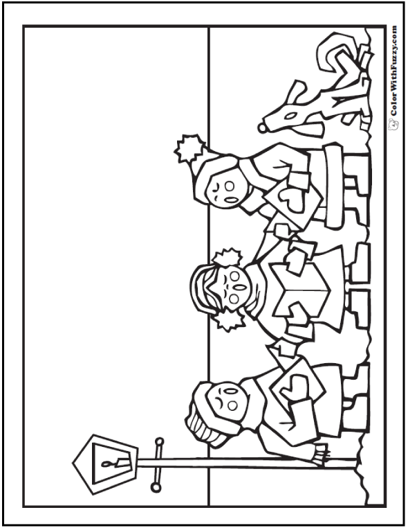 Free Christmas Coloring Pages: Caroling by lamplight.