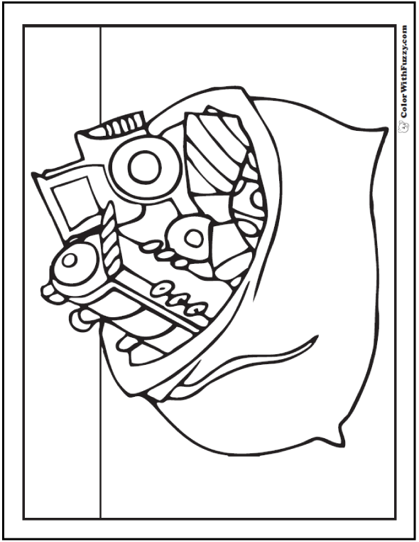 Free Christmas Coloring Sheets: Santa's bag of presents.