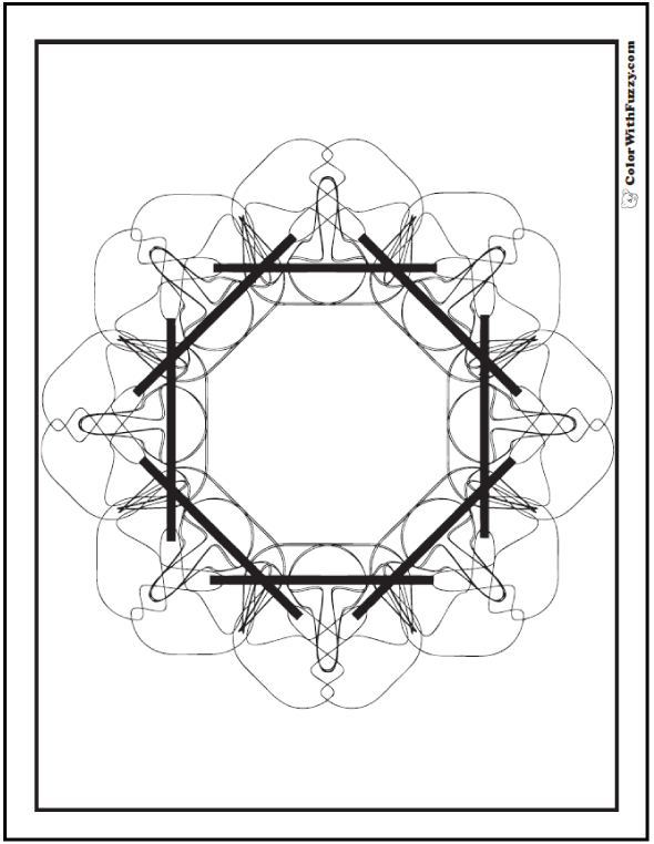 Free Coloring Pages Geometric Designs: Figures in an octagon.