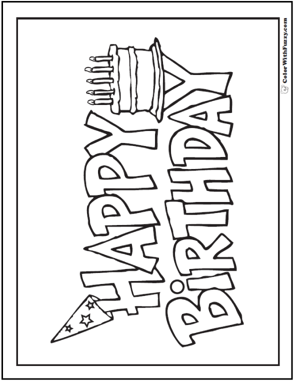 Happy Birthday Cake Banner To Color