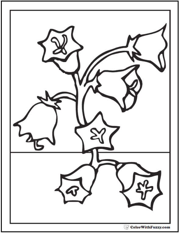 Bell Flowers - Free Spring Coloring PDF