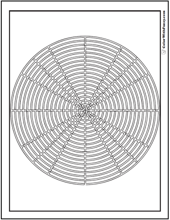 Free Geometric Coloring Pages In PDF: BBQ grill or labyrinth.