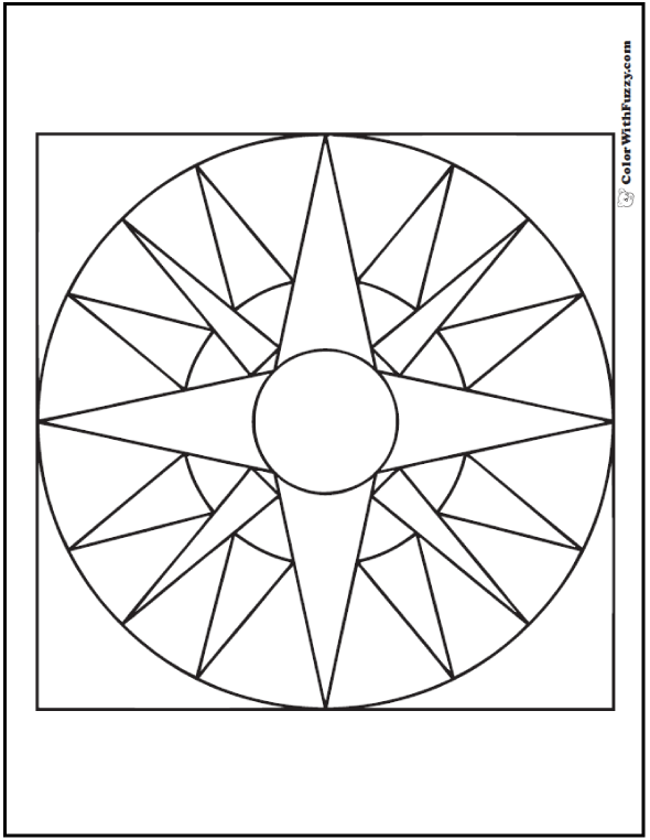 Free Geometric Coloring Pages: 4 point star centered on 16 point star in circle.