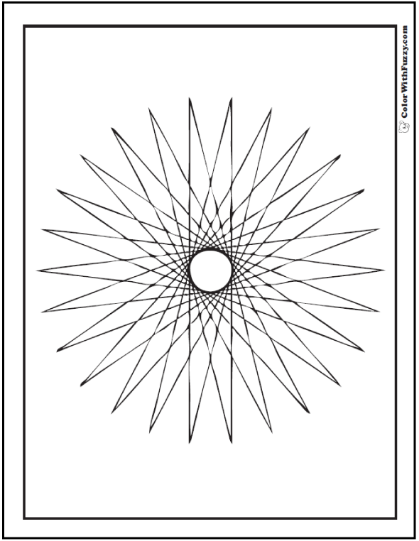 Free Geometric Designs Coloring Pages: 26 point star with tangent lines that make a circle in the center.