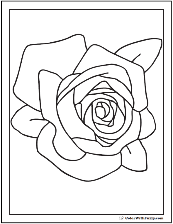 Free Rose Coloring Picture