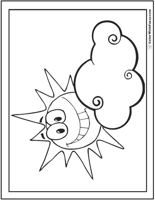Sun And Cloud Coloring Pages