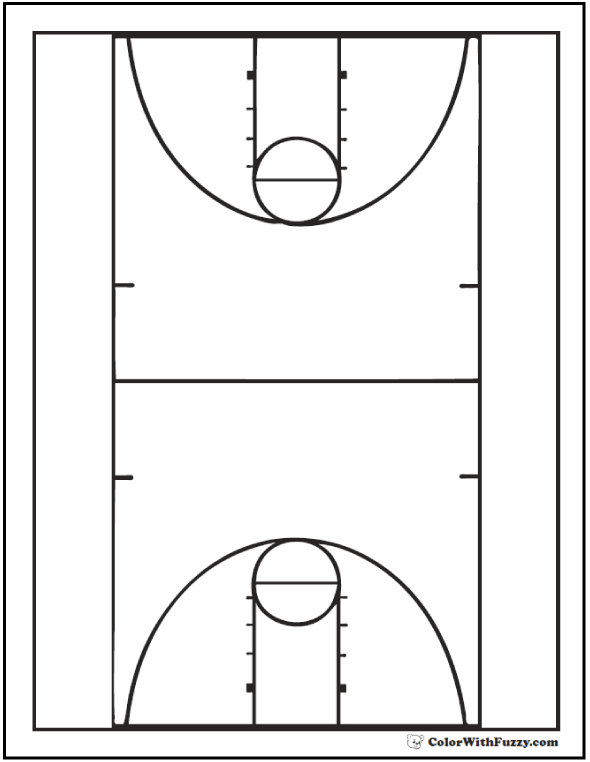 Basketball Full Court Coloring Page
