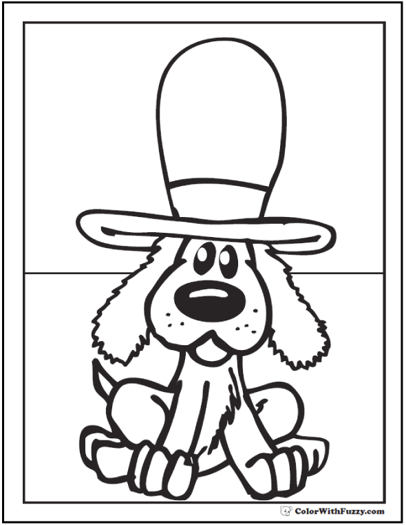 Dog in top hat coloring page.