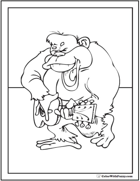 Fun Gorilla With A Guitar Printable