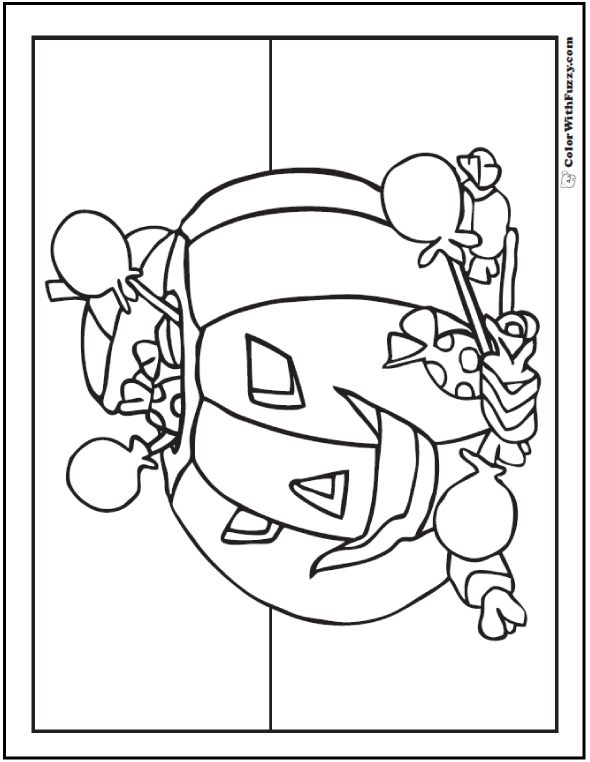 Fun Halloween Coloring Pages: Jack O'Lantern Pumpkin And Treats
