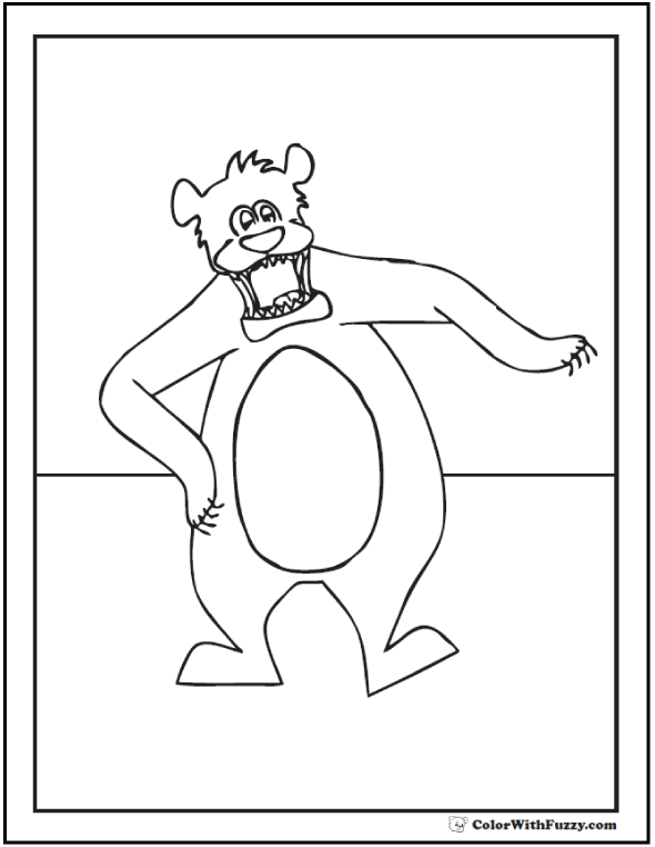 Funny Bear Coloring Page: Dancing or charging?