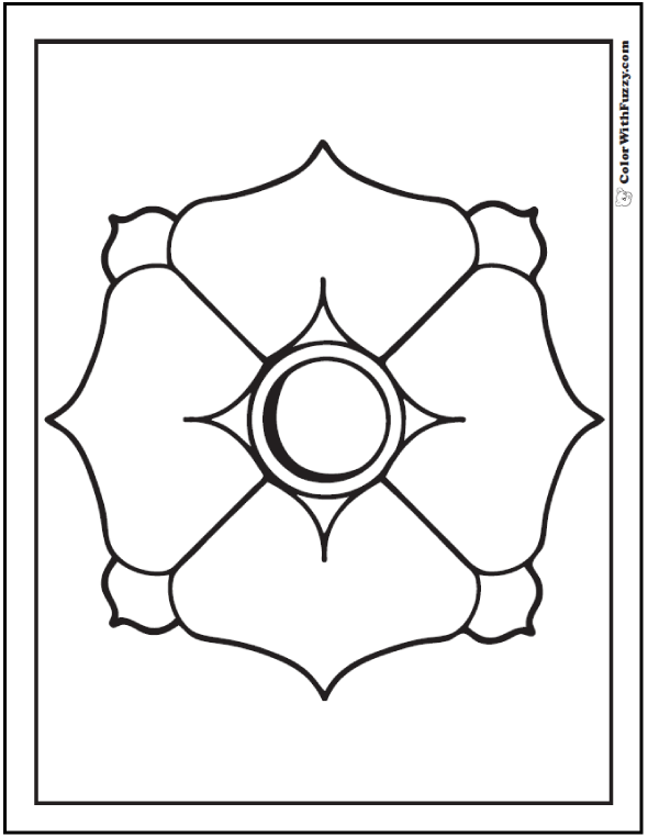 Geometric Art Coloring Pages: Dogwood Flower