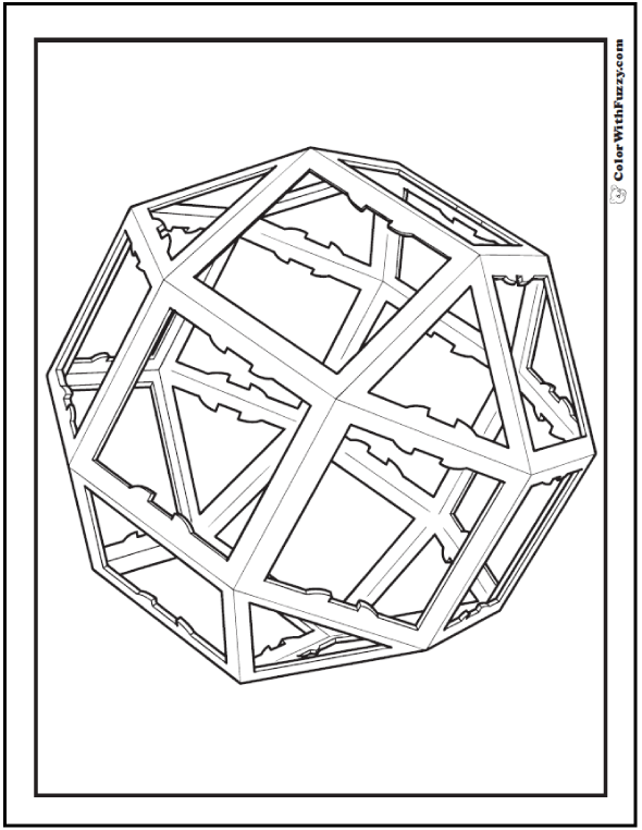 Geometric Coloring Designs: Geodesic sphere of squares and triangles.