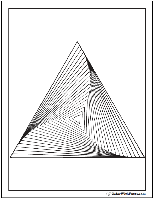 Geometric coloring page for adults concentric triangles in a stack or twisted pyramid