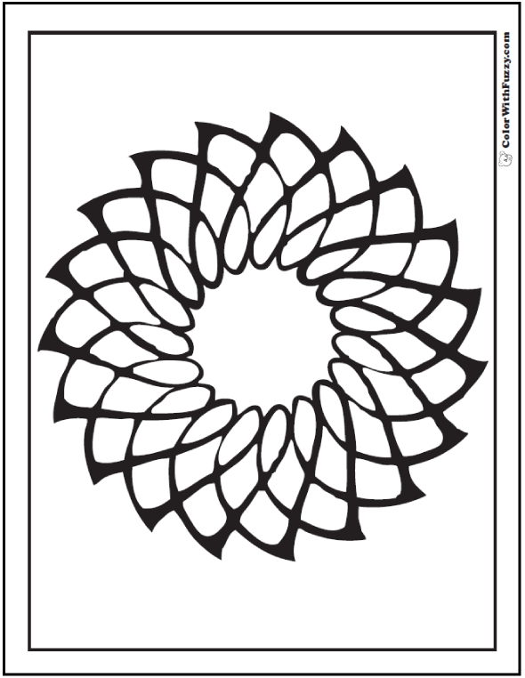 Geometric Coloring Page: Sun flare or flower, easy for kids.