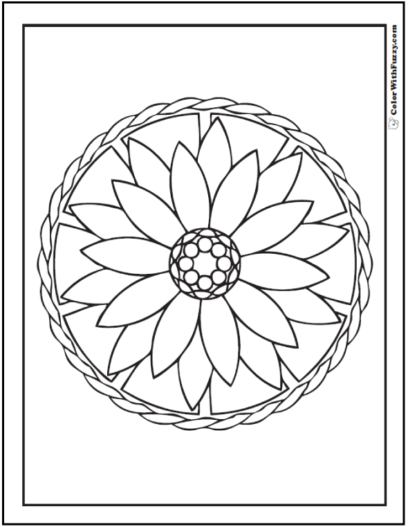 Geometric Coloring Pages For Children: Dahlia or lotus coloring page.