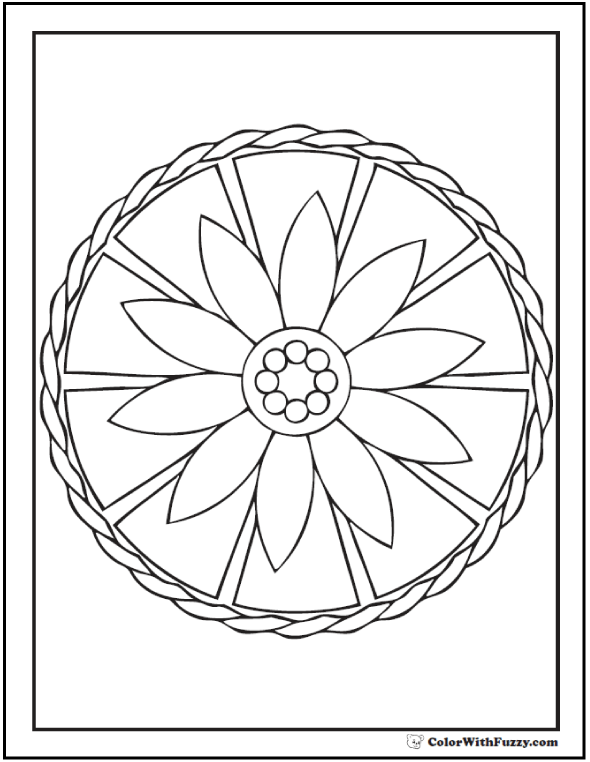 Geometric Coloring Pages For Kids: Daisy wheel, lotus, or pizza!