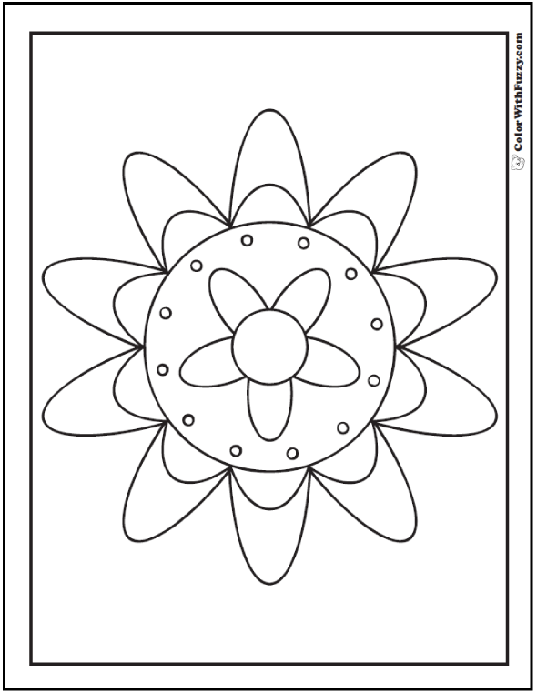 Happy Geometric Coloring Pages: Big, medium, and small circles in a flower.