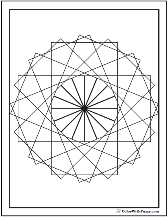 Geometric Coloring Pages To Print: Tangent rectangles in a circle.