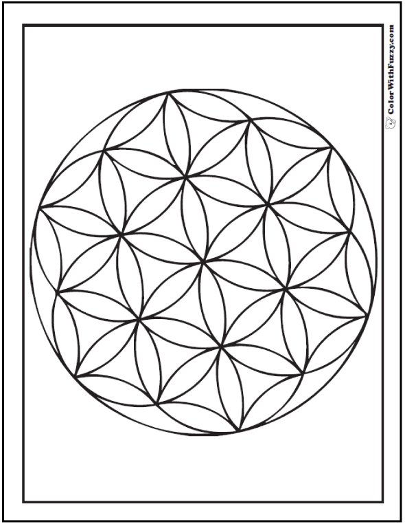 Printable Geometric Coloring Sheet: Circles in flower design.