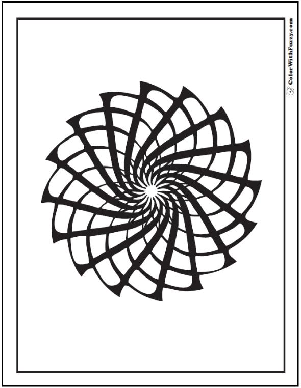 Geometric Coloring Patterns: Pinwheel, star, fireworks.