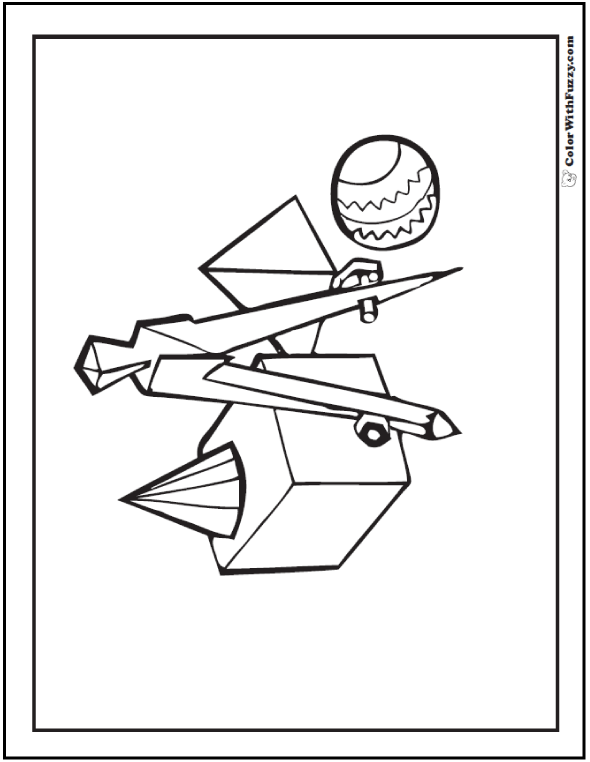 Geometric Coloring Sheets: Compass, cone, cube, pyramid, and sphere.