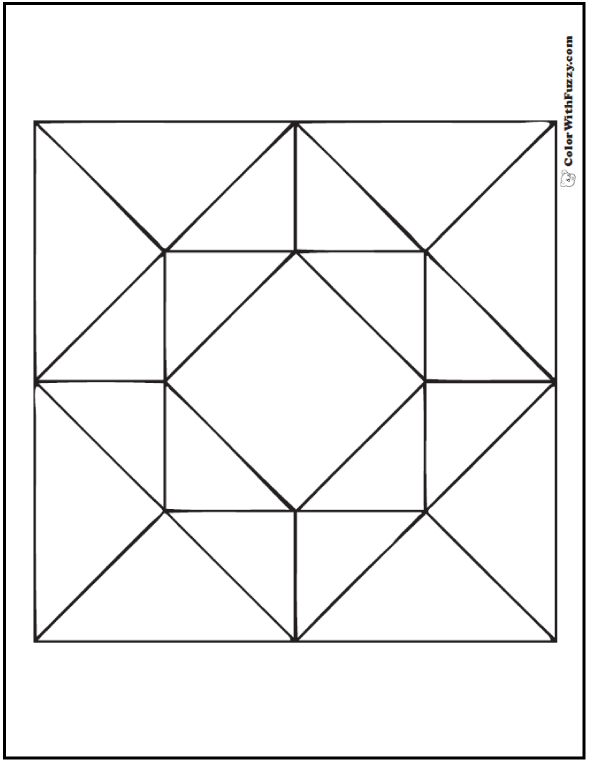 Geometric Coloring Picture: Diamonds centered in square quilt pattern.