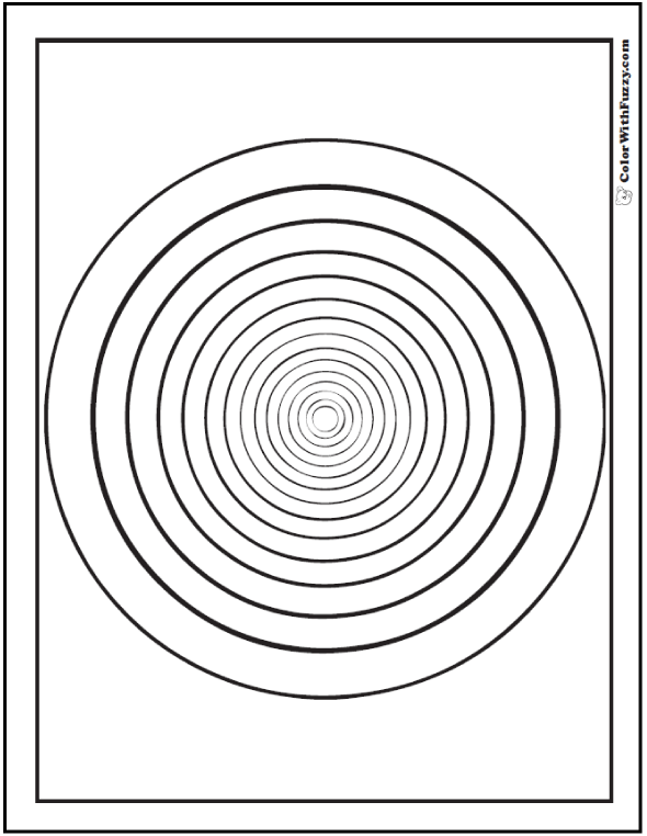 Printable Geometric Design Coloring Pages: Circles Inside Circles. Easy  Concentrics