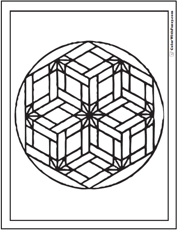 Geometric Design Coloring Pages: Star flowers in basket weave mosaic pattern.