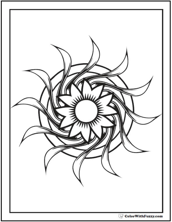 Geometric Design Printable Coloring Pages: Flower on circle or disc.
