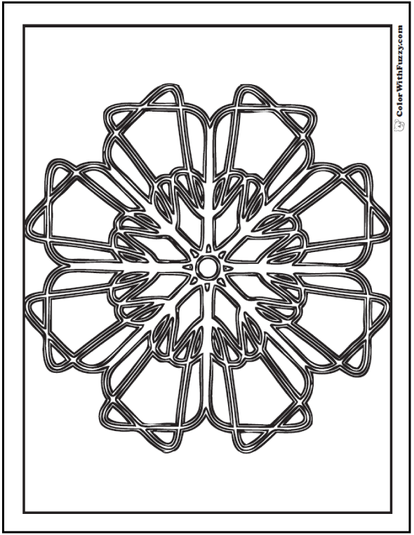 Geometric Designs Coloring Pages: Pizzelle cookie or labyrinth knot.