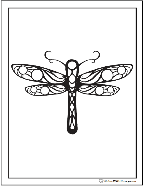 Geometric Dragonfly Coloring Page: Perfect symmetry for preschool and kindergarten!