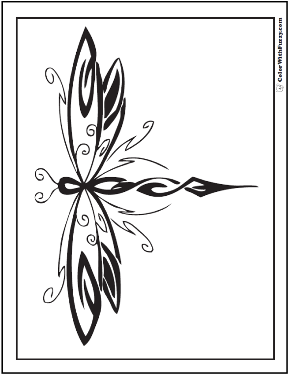 Geometric Dragonfly coloring page.