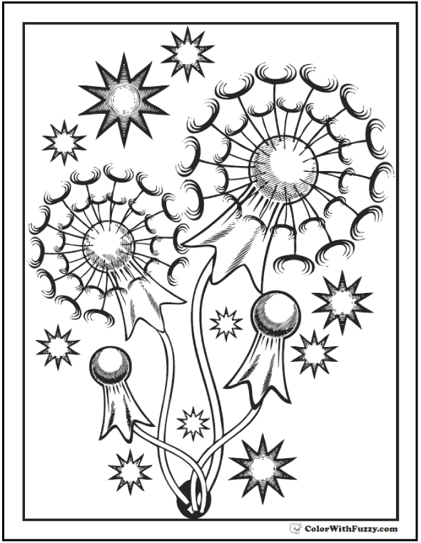Geometric Fireworks Fourth Of July Coloring Page.