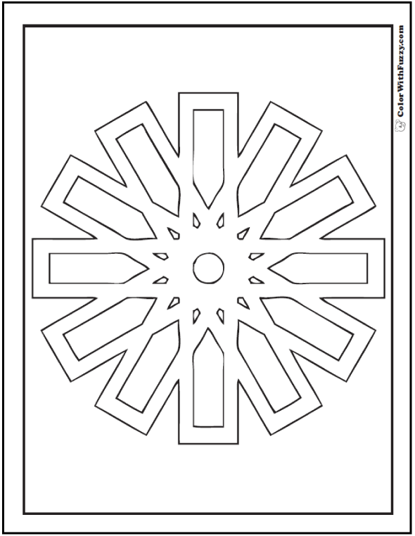 Geometric Free Coloring Pages: Stylized clock or snowflake with 12 points.