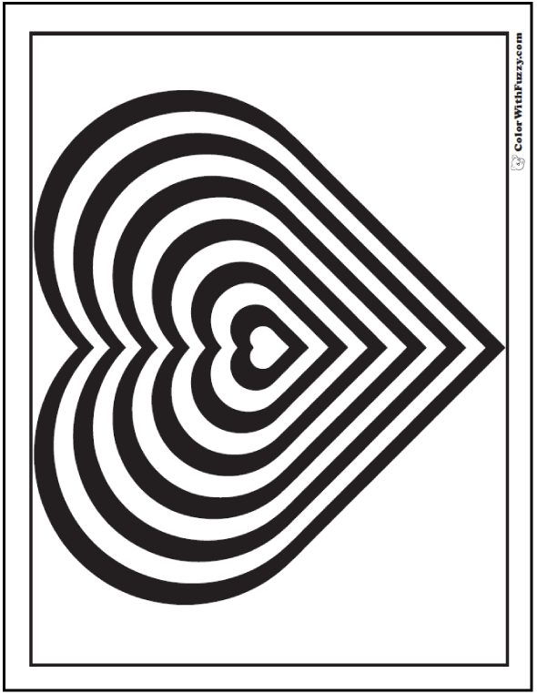geometric heart coloring page - Page To Color