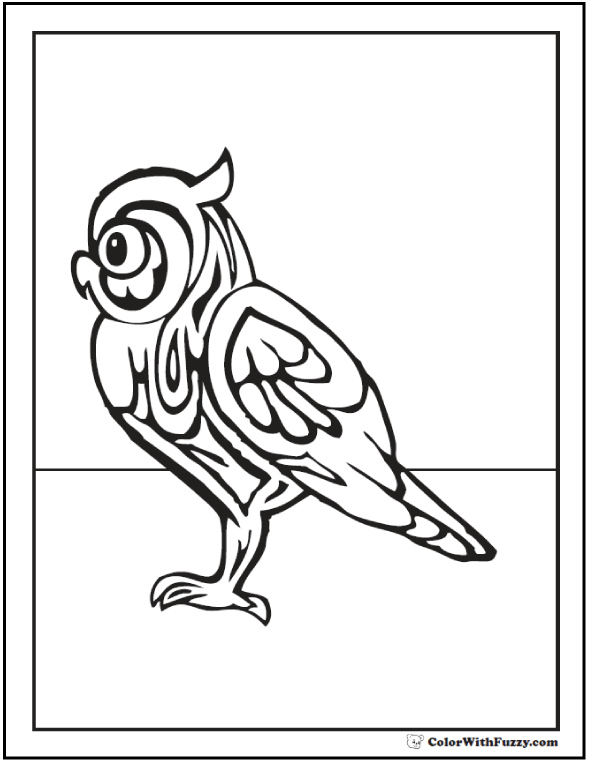 Geometric Owl Coloring Pages: Great Hunter