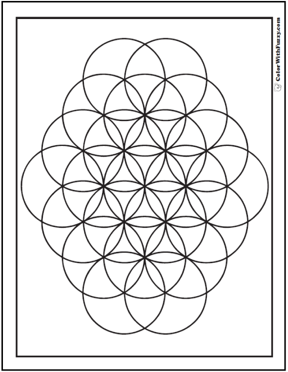 Geometric Pattern Coloring Page Kids Love: Geometric Bubbles, Circles, and Flowers.