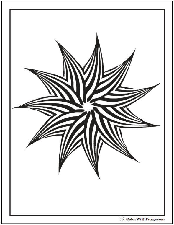 Geometric Patterns Kids Coloring Pages: 11 point pinwheel star.