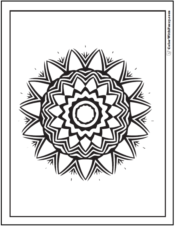 Geometric Patterns Coloring Pages: Mexican themed sunflower.