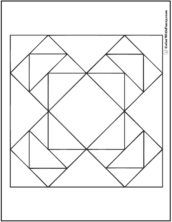 Piece Together This Geometric Quilt Coloring Page: Triangles, squares, and diamonds to color.
