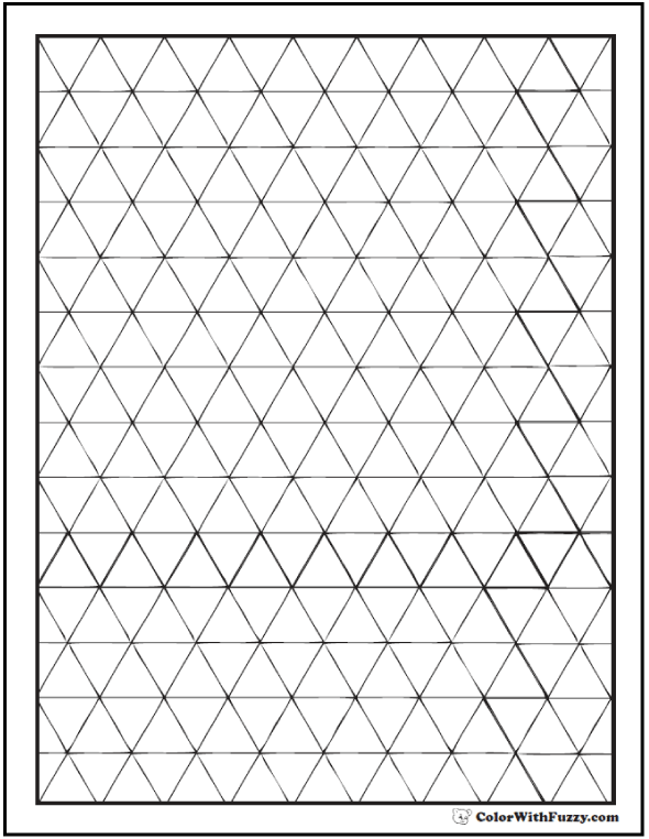 Blank Geometric Shape Coloring Page: triangles in running diamond or stripe pattern.