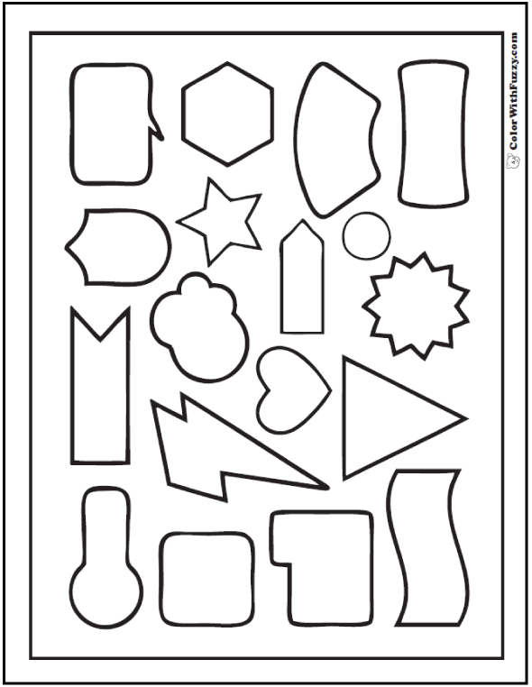 Geometric Shape Coloring Pages: triangle, heart, lightning, cloud, and more.