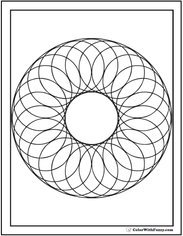 Geometric Shapes Coloring Pages: Wreath of circles.