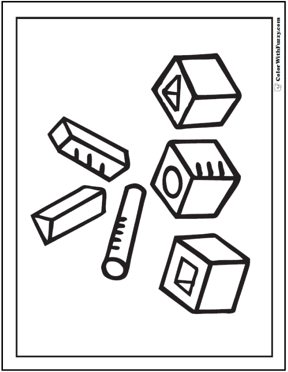 Cool Geometric Shapes Free Coloring Pages for preschool and kindergarten matching time!